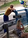 Couple shagging near bridge