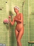 Naked chick showers with great pleasure
