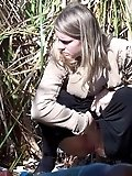 Shaved pussy outdoor pissing footage